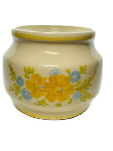 Vase, planter ceramic container ivory colored, yellow floral