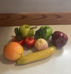 Vintage Lot of 8 Artificial Fruit Red & Green Apples Banana Peach Orange Plastic