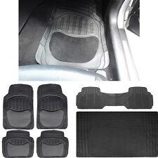 6pc Suv Semi-Carpet Rubber Front & Rear Mats Black Runner & Trunk Rubber Mat Set