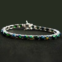 Natural Ethiopian Black Opal Gemstone 925 Sterling Silver Tennis Bracelet