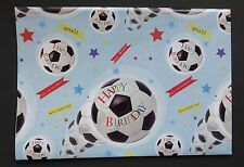 2 Sheets Simon Elvin FOOTBALL Gift Wrap Happy Birthday Wrapping Paper