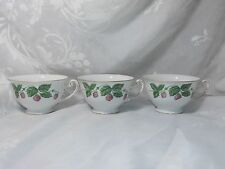 VINTAGE HIRA CHINA OCCUPIED JAPAN TEA CUPS BERRIES DESIGN SET OF 3