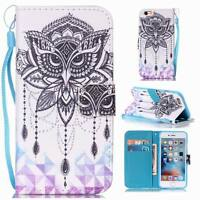 3D Pattern Leather Wrist Strap Stand Filp Cover Card Wallet Case For Smart Phone