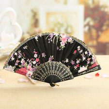 Vintage Chinese Style Dance Wedding Party Lace Silk Folding Hand Held Flower Fan