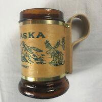 Alaska Wood Handle Mug VTG Cup Glass Beer Drink Mt McKinley Mountains Moose Bear