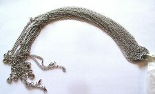 Wholesale Lot of 10 Plain, Simple, Silver Tone Necklace Chains, 24 Inches