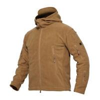 Mens Winter Polar Fleece Hunting Outdoor Jacket Tactical Military Coat Hoodie LZ