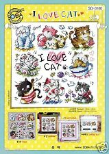 """""""I Love Cat"""" Counted cross stitch chart.(pattern leaflet) SODA SO-3180"""