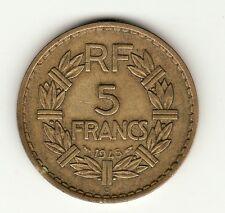 RARE 5 FRANCS LAVRILLIER BRONZE ALU 1945 C TTB !