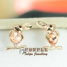 18CT Rose Gold Plated Topaz Rabbit Stud Earrings Made With Swarovski Crystal