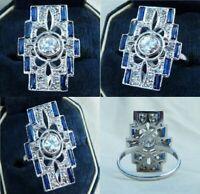Art Deco Diamond Round Emerald Vintage Antique Ring Silver 925 Jewelry Size 7