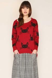 Pepaloves Felina Cat Print Sweater Red