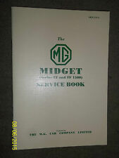 MG MIDGET TF & TF 1500 SERVICE LOG RECORD BOOK HANDBOOK NEW