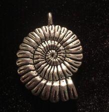 Vintage Seashell Nautilus Necklace Pendant Silver Tone