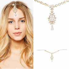 New Women Fashion Jewelry Pearl Crystal Head Chain Headband Head Piece Hair Band