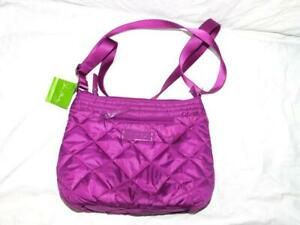 Vera Bradley NEW Berry Purple Puffy Crossbody Purse Quilted Shoulder Pag Solid
