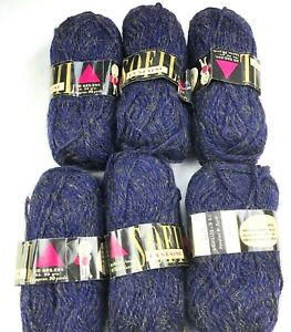 Yarn Skeins Sofil Lyslaine 90% Wool & Acetate France NIGHT Deadstock Vtg Lot 6