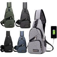 Men's Canvas Single Shoulder Travel Cross Body Bags Chest Messenger Sling Bag
