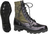 Olive Drab Leather Military Jungle Boots, Classic Panama Sole