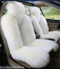 2pcs White Real Sheepskin Long Wool Car Seat Covers Cover(Universal Fit) Pair