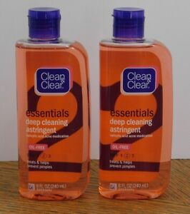 2 CLEAN & CLEAR Essentials Deep Cleaning Astringent Salicylic Acid for Acne 8 oz