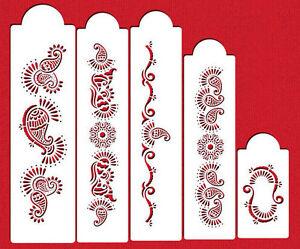 Paisley Henna Mehndi Pattern Cake Stencils Flexible Craft Stencils 5 Piece Set