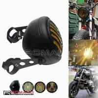 Motorcycle Retro Grill Headlight Metal Halogen Front Light For Cafe Racer Bobber