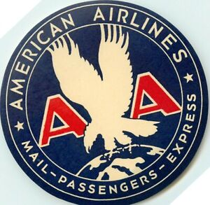 Mail-Passengers-Express ~AMERICAN AIRLINES~ Luggage Label - MINT CONDITION, 1955