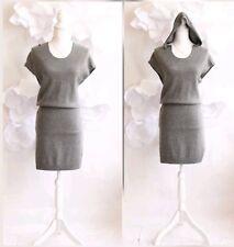 EURYTHMIC Cashmere Hoodie Sweater Sheath Dress Tunic Sz S|3 Gray Dolman Slv