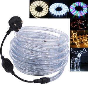 1-100m LED Rope Tube String Mains Plug Fairy Lights Outdoor Garden Lamp 220V UK