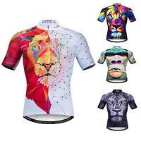 Lion Cycling Jersey Men Short Sleeve Sport T-Shirt Bicycle Clothing Bike Tops