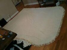 Vtg Bates White Blanket Bedspread Fringe Queen Made In Usa 60s 70s Mid Century