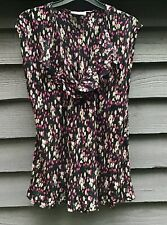 Masai Black Floral Chiffon Tunic Top, V Neck Frill Size M UK14-16