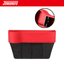 RED Leather Console Side Pocket Organizer Cup Holder Car Seat Catcher US STOCK