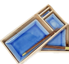 JAPANESE Sushi Plate Set 8 Pieces Ceramic Blue Glazed  - serves 2 people