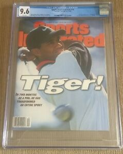 Sports illustrated Newsstand 1996 Tiger Woods RC Rookie FC CGC 9.6