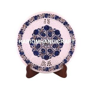 18'' Marble Lapis Floral With Grill Antique Table Inlay Stone Outdoor Decor M076