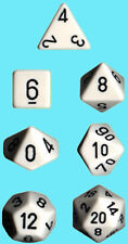 CHESSEX 7 die set POLYHEDRAL OPAQUE WHITE with BLACK NEW poly dice CHX 25401 rpg