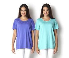 Quacker Factory Set of 2 Size UK S Grommet Sparkle T-Shirts IRIS / TURQ RRP £50+