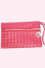 Neu Clutch Tasche Handtasche Abendtasche Kunstleder Pink Silber Reißverschluss