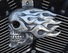 Flaming Skull horn cover in aged aluminum finish. Harley Davidson. FS-356-2