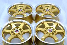 15 gold Wheels Miata Aveo Integra Lancer Galant Cube iQ Civic Rims 4x100 4x114.3