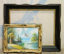 Oil Painting/Gold Ornate/Black Wood Frame/Mountain Scene/Vtg Cottage/BoHo Chic/2