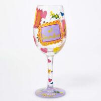 Lolita #1 Grandma Grandmother Hand Painted Flowers Birds Love Wine Glass