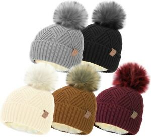 LADIES CABLE KNIT SHERPA LINED HAT DETACHABLE FUR POM POM WINTER WARM