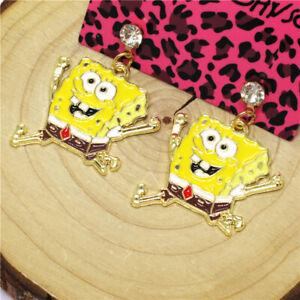 New Yellow Enamel Cute Sponge Man Crystal Betsey Johnson Women Stand Earrings