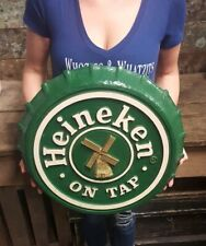 Vintage Heineken Sign On Tap Beer Bottle Cap Sign 19� from 1984. Made in Usa.