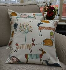 """""""OH MY DEER"""" FOREST ANIMALS CUSHION COVER 17 X 17"""" COTTON HANDMADE"""