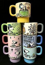Vintage Custom Hand Painted Snoopy Woodstock Days Of The Week Ceramic Mug Set