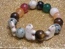 Damenarmband Armband Edelsteine handgefertigt Achat & Howlith & Tigerauge